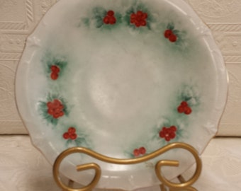 Hand Painted Winter Berries on Decorative Plate; Bavaria; Schumann, Arzberg Germany
