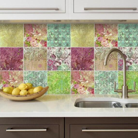 backsplash decal vinyl backsplash floral patchwork wall tiles
