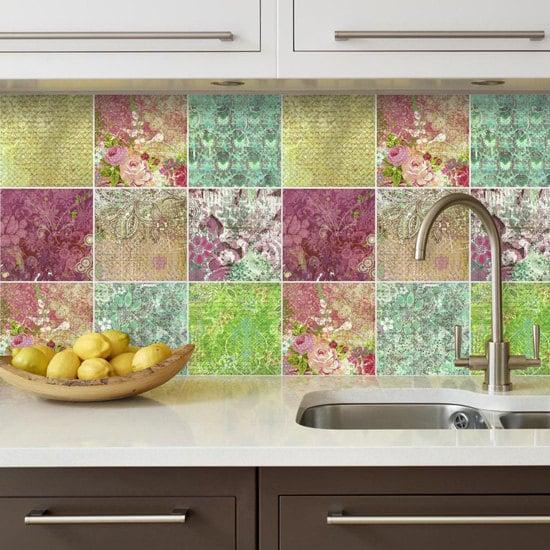 backsplash decal vinyl backsplash floral patchwork wall