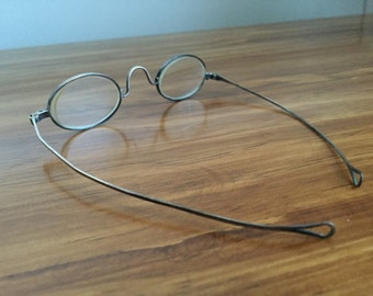 Wire-rimmed eyeglasses, antique, turn-of-the-century glasses, vintage