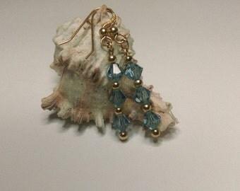 Swarovski aqua blue crystal beads 14k gold filled earrings