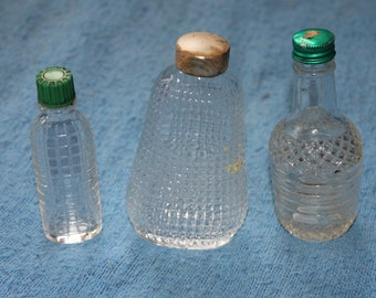 SALE Three Beautiful  Perfume Bottles w Lids, Scents, Beautiful Designed Bottles, Great for Collectibles or Collector's