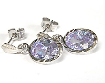 Solid 9ct White Gold Lilac CZ Drop Earrings W46