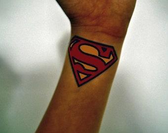 Superman Logo Temporary Tattoo, Superman Tattoo, Superman Temporary Tattoo, Comic Tattoo, Geekery Tattoo, Superman Logo Design, Gift Idea