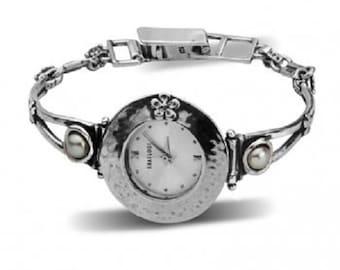 SHABLOOL watch,sterling Silver bracelet watch,bracelet watch,pearl watch from israel,women watch,silver watch,Shablool jewelry