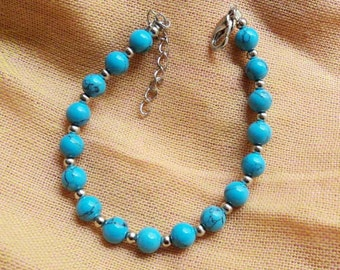 Blue turquoise and Tibetan silver bracelet,vintage,bangle,personalized,wholesale(SL60)