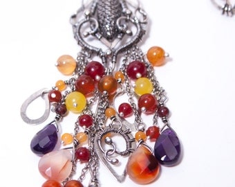 Lathander - long, romantic wire weaved fine and sterling silver necklace with garnets, carneoles, amethysts, quartz and jades, wire wrap