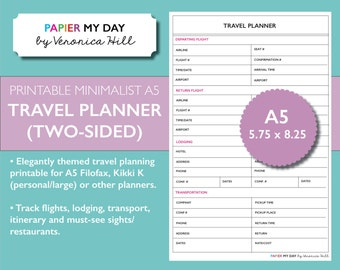 A5 Filofax Travel Planner - Minimalist Design - Also fits Kikki K Large or Personal
