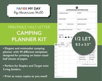Camping Planner - Printable Camping Journal for Staples and Target Mini Binders - Half Letter Size