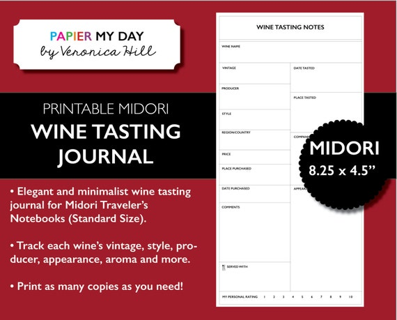 wine tasting journal template - midori traveler 39 s notebook wine tasting journal midori