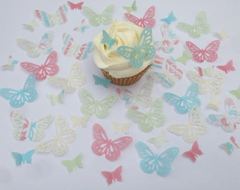 48 Edible Vintage Butterfly Wafer Cupcake Toppers Precut