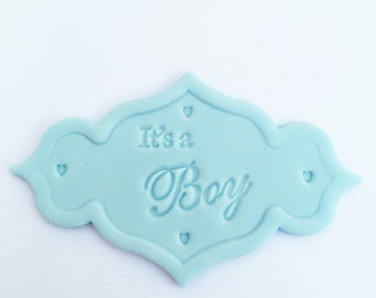 1 Edible Blue Its A Boy Plaque for celebration cake toppers