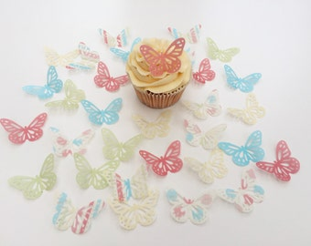 32 Edible Vintage Butterfly Wafer Cupcake Toppers Precut