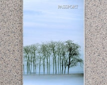 Winter Trees Passport Cover Holder Case Wallet, Snow Tree Sky Blue Clouds Snowy Covered Christmas December Blizzard Man Jogging Landscape