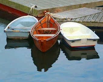 3 Rowboats at Dock Fine Art Photography Wall Photo Print, Cape Cod Blue Water Orange Row Boat Fishing Boating Ocean Summer Nautical
