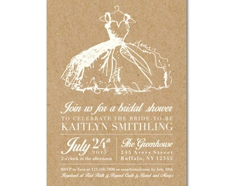 Bridal Shower 5x7 Invitation - Little White Dress - Kraft Background - Printable and Personalized