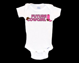 Future Cowgirl Onesie - Pink Cowboy Boots Onsie Shirt, Little Rodeo Queen Outfit, Horseback Riding Infant Onepiece, Toddler Cowgirl Apparel