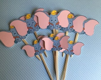 Dumbo cupcake toppers - baby shower, birthday party -  set of 12