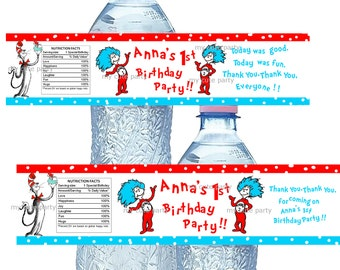 Dr Seuss,Thing 1 Thing 2,dr Seuss water bottle labels,Dr seuss birthday,cat in the hat,dr seuss birthday party,thing 1 thing 2,party favors