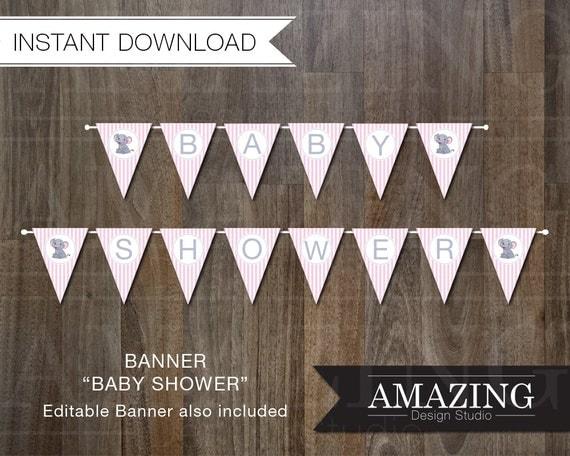 Pink Baby Shower Banner DIY Editable Printable Instant