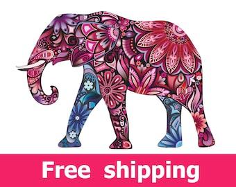 Elephant wall sticker, nursery wall art elephant wall decal, pink elephant decal wall decor removable vinyl animal abstract colorful [FL071]