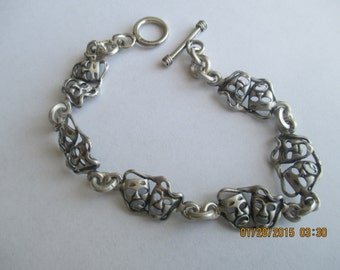 Happy/Sad.Theater Sterling Silver  Bracelet..great detai..link