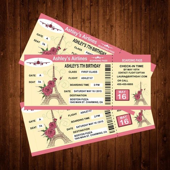 Airplane Ticket Boarding Pass Birthday Invitation: Custom Paris Boarding Pass Birthday Invitation Personalized