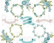 Wedding Floral Clipart, Wedding Flowers, Floraw clipart, Digital clip art flowers, Flower ribbons, Blue flowers, Grey flowers, Blue ribbons