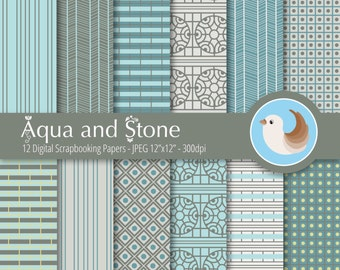 Turquoise Digital Paper Set - Blue and Cream Digital Paper - Aqua Digital Paper - Set of 12 Digital Scrapbooking Papers