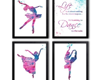 Girls Nursery Art - Watercolor Ballerina Prints - Dancing Quote - Girls Bedroom Decor - DS13