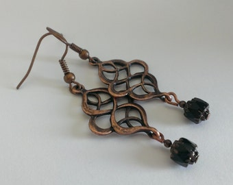 Copper and Czech glass bead earrings