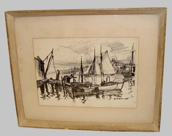 Emile Albert Gruppe Gloucester Harbor Scene Pencil Drawing American Listed