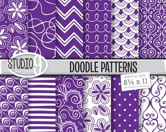 Purple Digital Paper: DOODLE PATTERNS Printable Pattern Print, Purple Download, 8 1/2 x 11 Purple Patterns Backgrounds Scrapbook