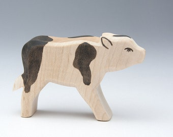 Wood Animal - Animals Wooden Toys - Natural Toy - Eco Friendly Toy - Calf - Handmade Wooden Figurine Calf - Waldorf Wood Toy - Cow Statue