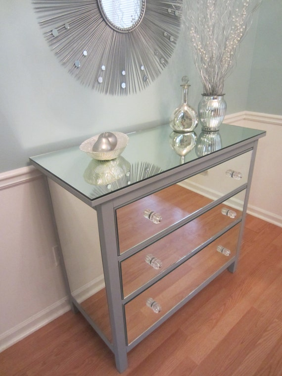 items similar to mirrored dresser silver upcycled ikea 3