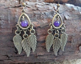 Amethyst earrings with bronzes leaves. Inspiration Bohemian Boho Gypsy Hippie