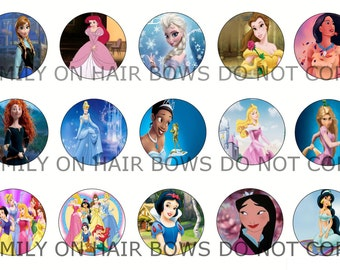 DISNEY PRINCESS bottle cap images instant download