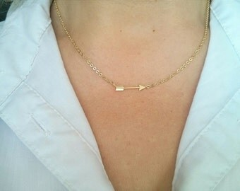 Gold Arrow Necklace,Simple Everyday Necklace,Dainty Choker Necklace,Modern Gold Necklace,Bridal Gift,Minimal Delicate Necklace