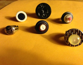 Adjustable rings made with vintage buttons