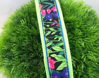 Neoprene padded dog Collar *GREEN MEADOW*