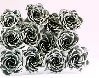 12 Metal Roses - Love bouquet gift birthday anniversary engagement wedding steel forever rose dozen twelve flowers sculpture centerpiece art