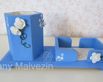 Blue desk organizer