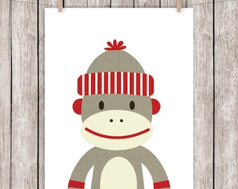 Nursery Art Printable Sock Monkey Brown Red Art Print Wall Art, 8 x 10 Instant Download Digital File