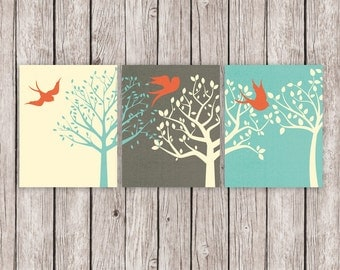 Triptych Printable Art Trees Birds Turquoise Coral Art Print, Nature Wall Decor, Wall Art 8 x 10 Instant Download Digital File