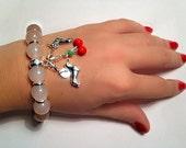DACHSHUND Rose Quarz/ Silver  Bracelet  '' ROMANA'' precious 3D Dachshund Charm