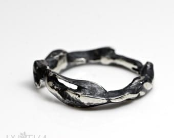 Oxidized silver ring / Rough ring / Bark ring / Thick silver ring