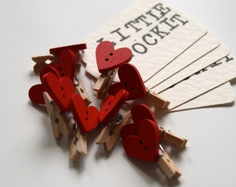 Pack of Ten Red Heart Mini Pegs