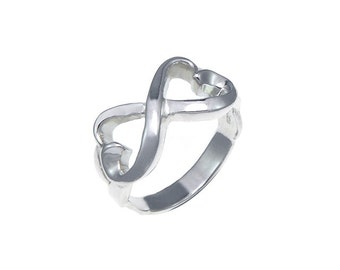 925 sterling silver the ribbon heart infinity ring size 5-9
