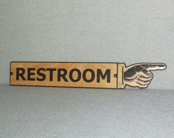 "Large 24"" Vintage Style Wooden Restroom Finger Right Pointing Sign Man Cave"