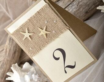 Beach Rustic Wedding Table Number, Beach Table Numbers for Wedding (5), Sarfish Table Numbers,